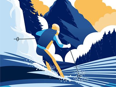 Ski Illustration concept landscape sport flat illustration sketch ski illustration character vector illustration illustrations