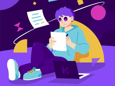 Work Anywhere Illustration Concept design purple abstract space work vector character flat illustration illustration vector illustration illustrations