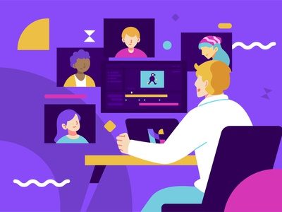 Remote Meeting & Working Illustration Concept people work purple meeting remote working vector character flat illustration illustration vector illustration illustrations