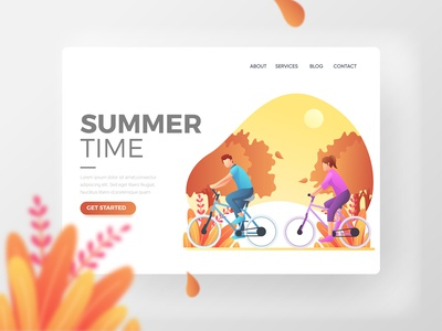 Summer Landing Page with men and women cycling