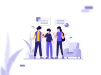 [FREEBIE] Hangout and talking illustration design
