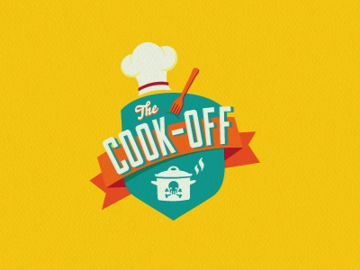 The Cook-off Logo boardgame logo retro vintage sabotage poison board game chef hat pan