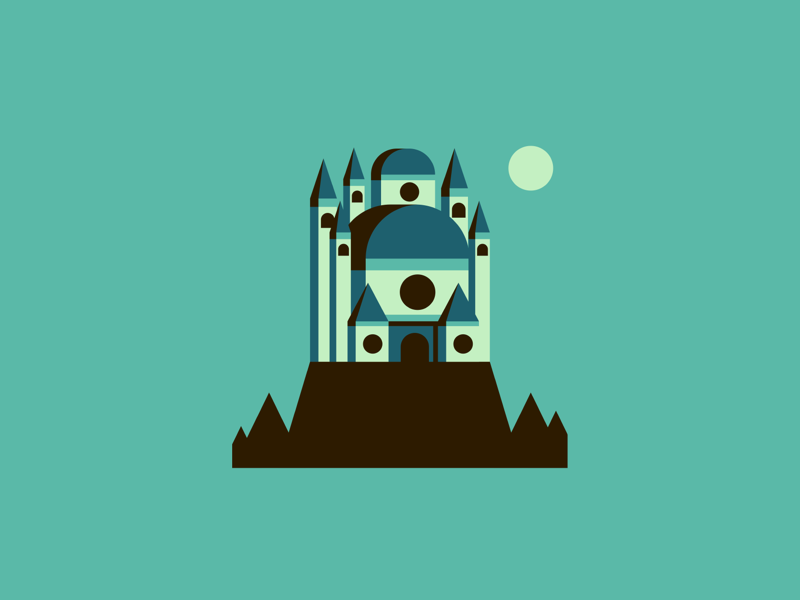 The Eyrie flat design vector illustration architecture castle town city got gameofthrones