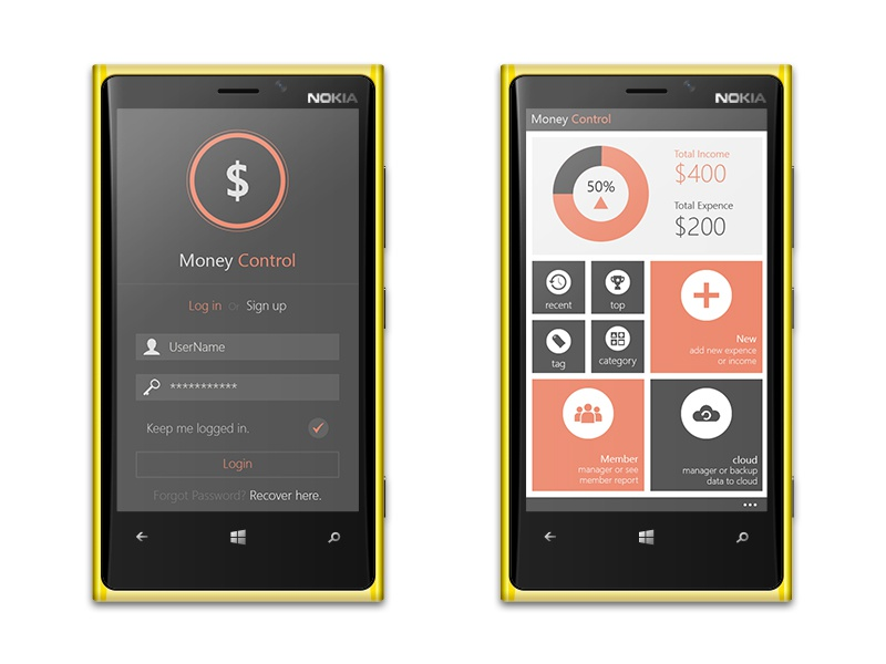 Money Control App flat metro windows-phone-8