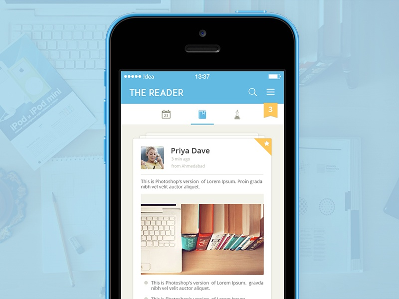 The Reader iphone reader app ios7 ios8 ui ux mobile