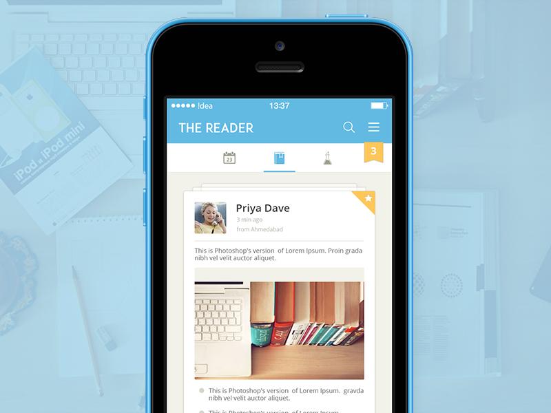 The Reader iphone reader app ios7 ios8 ui ux mobile