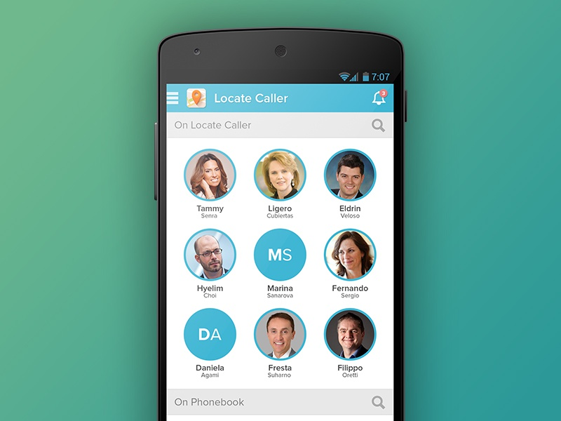 Locate Caller app ui ux android call location contact mobile phone