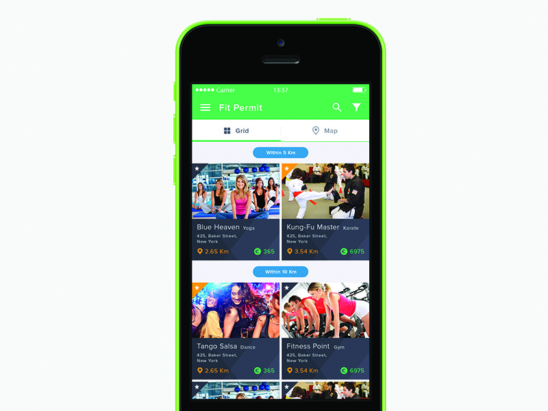 Fit Permit class gym fit fitness green ios ux ui