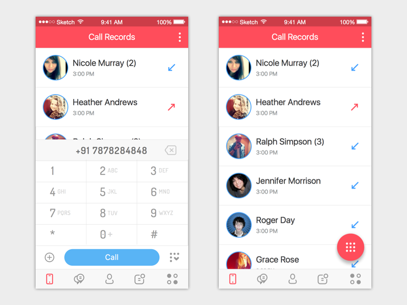 Chat App red mobile iphone ios app chat ux ui
