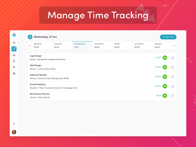 Manage Time Tracking | Bearbook Projects time log bearbook task project