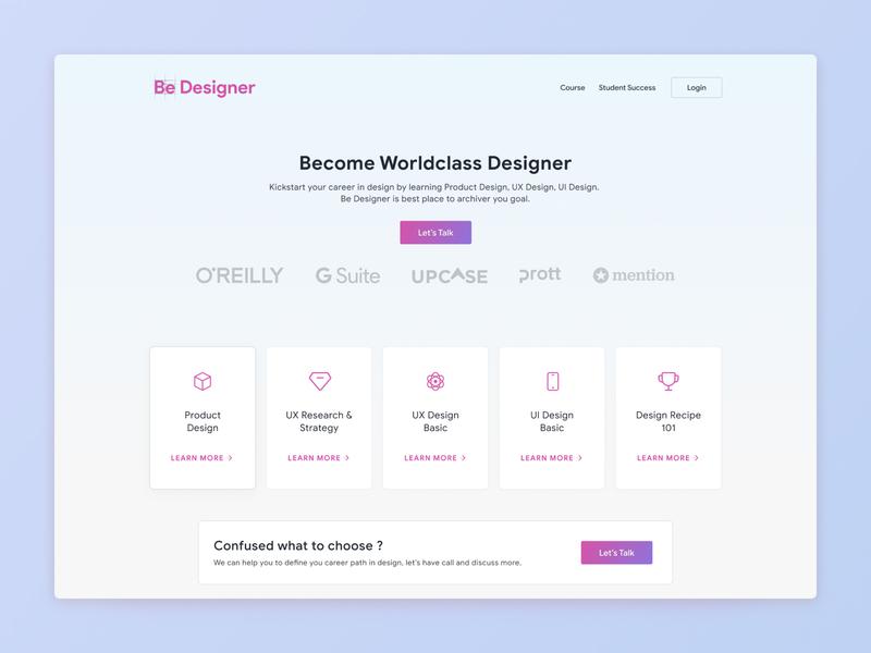 Landing Page for Be Designer education wesbite landing page design web ux ui
