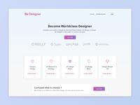 Landing Page for Be Designer