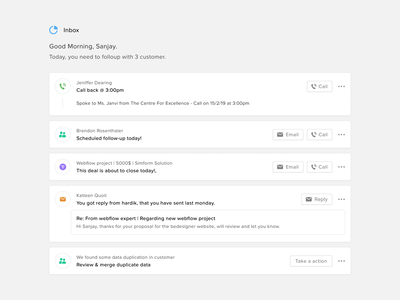 Inbox dashboard mobile web app ux ui