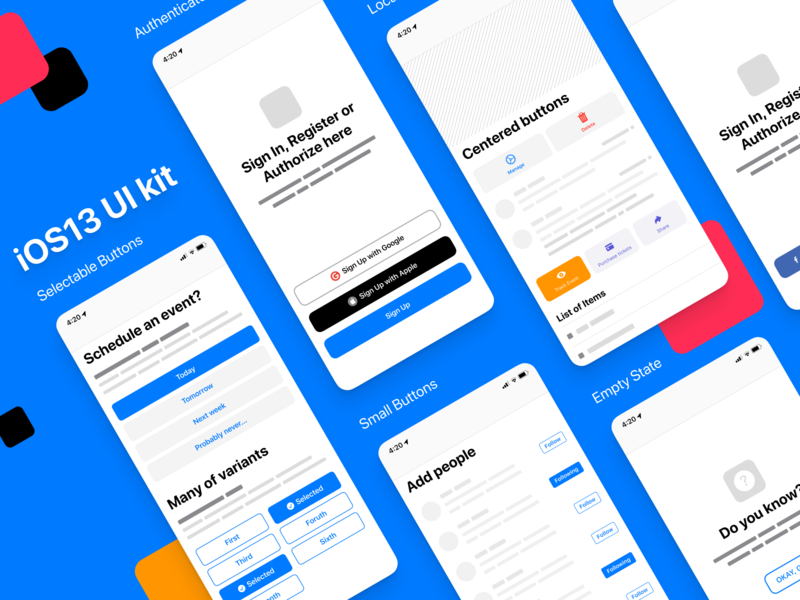 Figma iOS UI kit - Buttons design guidelines