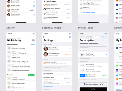 Figma iOS design library - Table view lists patterns design system templates ui kit figma design ui app ios mobile social plan table view settings list