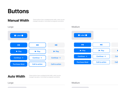 Figma iOS design library - Buttons UI design templates design ui app figma ios mobile swift components outline filled shaded buttons