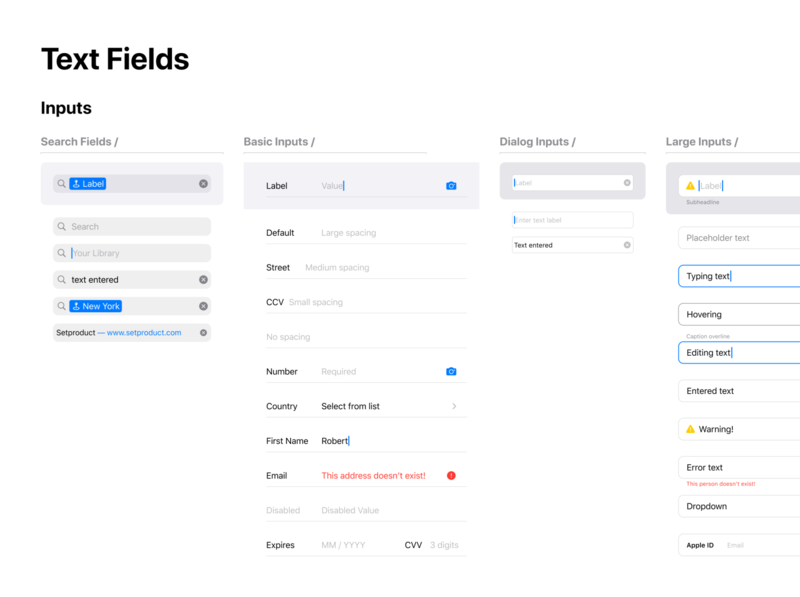 Figma iOS design library - Text fields UI design templates ui kit design ui app figma ios mobile styleguide components text field inputs