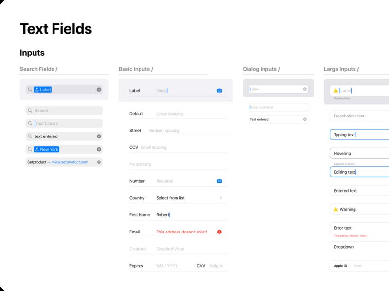 Figma iOS design library - Text fields UI design templates ui kit design ui app figma ios mobile styleguide components text field inputs