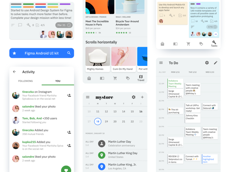 Figma Android UI kit - Kanban Project management app templates design system system material ui kit design app figma management project kanban mobile ios android