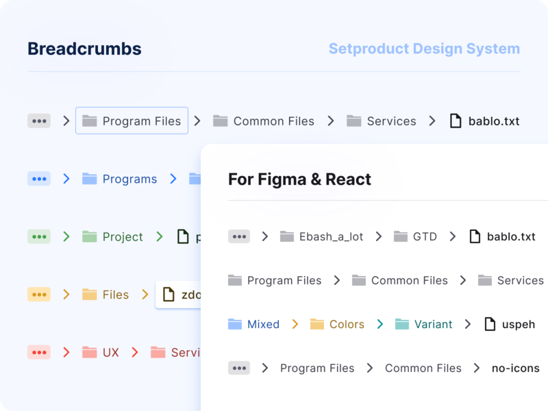 Breadcrumbs UI design component - React UI kit for Figma reactjs web react android design system figma templates ui kit material design ui app breadcrumbs path navigation