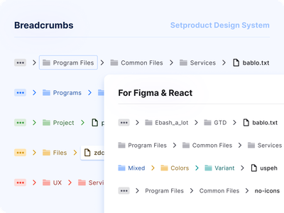 Breadcrumbs UI design component - React UI kit for Figma reactjs web react android design system figma templates ui kit material design ui app breadcrumbs path navigation
