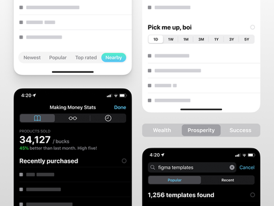 Figma iOS design kit - Tabs and Segmented controls ui kit ux design figma app ui iphone mobile ios filters filter placeholder skeleton navigation segment segmented control tabs tab
