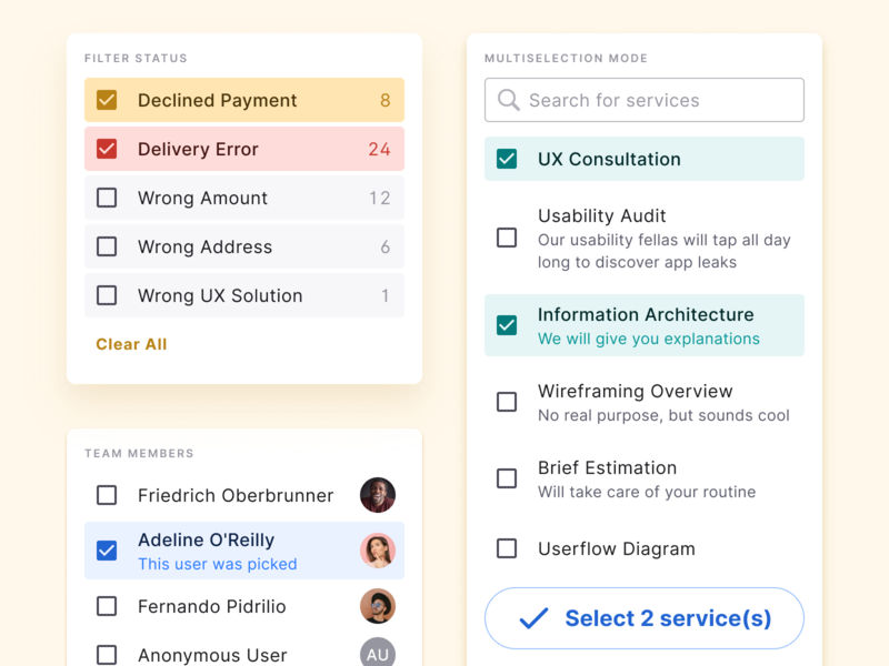 React & Figma UI kit - Selection checkbox react design ui figma app ui kit material states state button filter selection checkbox check select