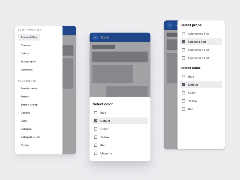 React UI kit - Drawer design templates design ui ui kit material app figma menu side sheet drawer development web reactjs react