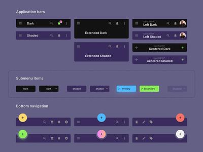 Figma Material Design UI kit - Application bar dark components web ui material templates ui kit design app figma header button fab components dark android mobile