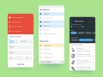 Figma Material UI kit - Android app templates ui app figma template material ui kit react flutter selection filtering stepper field text filter mobile android