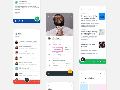 Material Design UI kit Figma - Android app templates inputs profile navigation nav bottom android mobile