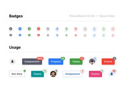 Figma UI kit React design system — Notification badge mobile web design system material design ui figma react badges tag notification alert counter bade