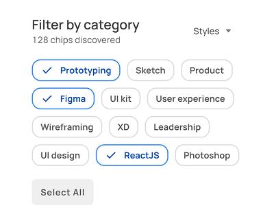Chips selection for filters UI design in Figma mobile ui kit design ui app figma badge chip filtering filter outline selection select chips
