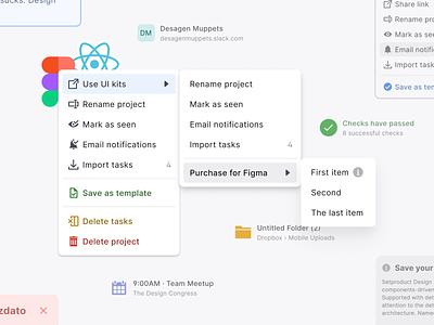 React UI kit for Figma — Design & Code toolkit 2-in-1 react contextual context popup pop menu mobile web design system templates material ui kit design ui app figma