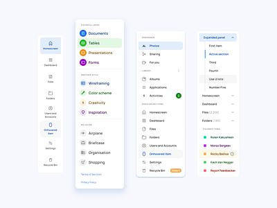 Side navigation components for Material X Ui kit web templates material ui kit design ui app figma ios active menu navigation nav