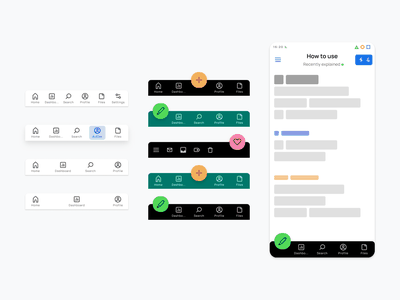 Tab bar custom UI design   Figma Material X kit design system templates material ui kit design ui app figma navigation bottom bar tab