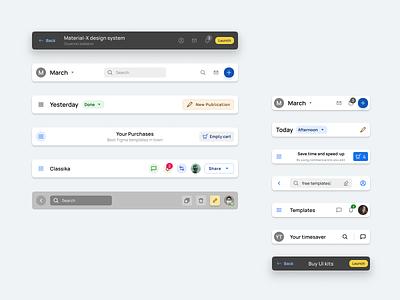 Header components template for Material X Figma UI kit navigation top nav header app bar