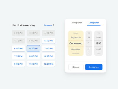 Picker UI design - Figma Material X kit mobile design system ui kit design ui figma app filters picker popup pop date time
