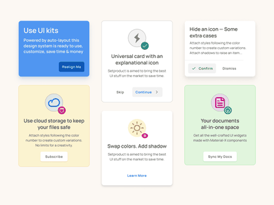 Cards UI design for Material X system kit mobile app android ios web mobile templates material ui kit design ui app figma empty state placeholder cards