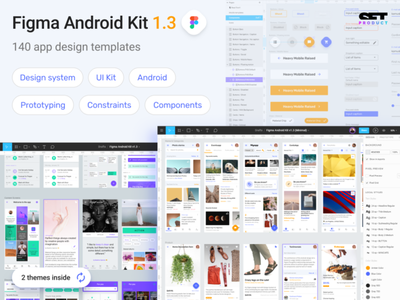 Figma Material UI kit - Mobile app Android templates dashboard navigation header card button template android mobile web design system templates material ui kit design ui app figma