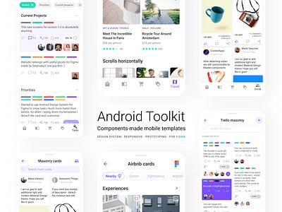 Figma Material UI kit - Mobile app Android templates navigation header card button template android mobile web design system templates material ui kit design ui app figma