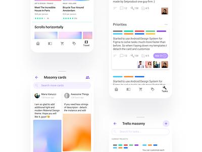 Figma Material UI kit - Mobile app Android templates navigation header card button template android mobile design system templates material ui kit design ui app figma