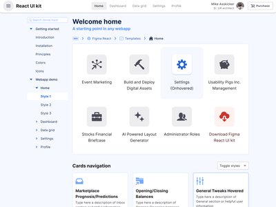 Figma React system — 2 in 1 UI kit to design & code dashboard react templates material ui kit design ui app figma