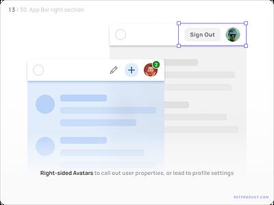 App Bar (Navbar) UI design — Avatar, Buttons android templates ui kit design ui app figma