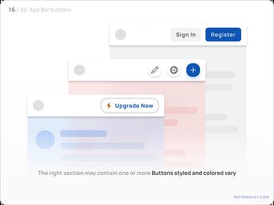 App Bar (Navbar) UI design — Buttons android templates ui kit design ui app figma