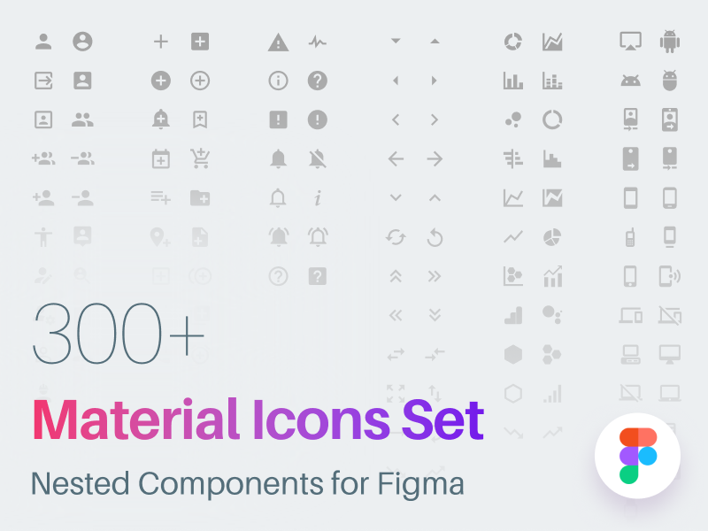 300+ material icons set for Figma