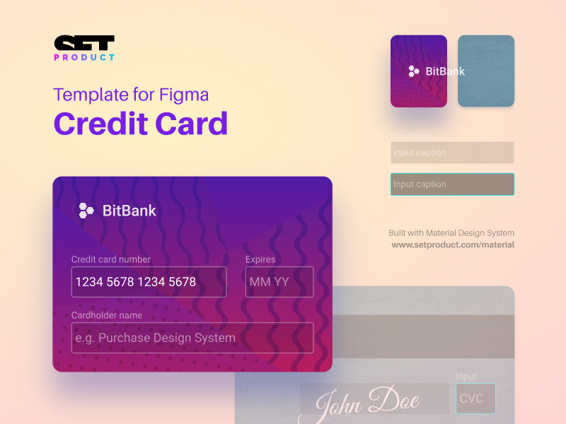 🆓 Credit card template for Figma text input figma template svg billing banking bank finance credit card
