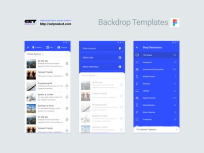 Material backdrop UI templates