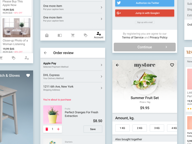 Ecommerce UX patterns and research card item kit ui material figma shopping app design page product ecommerce