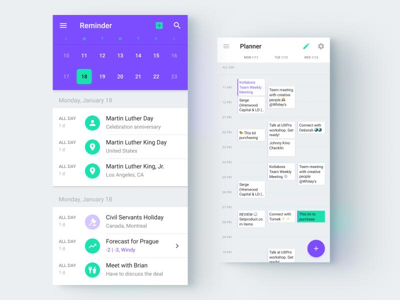 Figma calendar app templates by Roman Kamushken on Dribbble